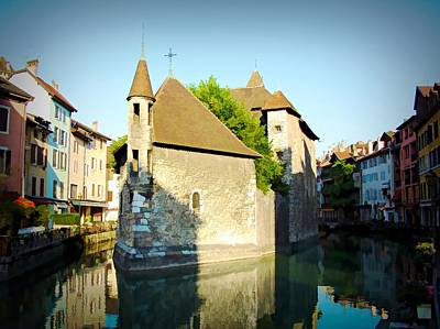 Digital Art - Annecy Canal - Annecy, France by Joseph Hendrix