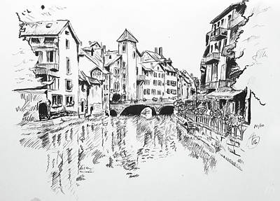 Drawing - Annecy, France by Anthony Brooks