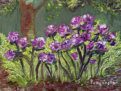Painting - Anne's Rhododendrons  by Polly Castor