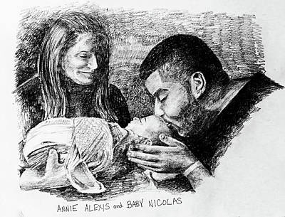 Drawing - Annie Alexis And Nicolas by Larry Whitler