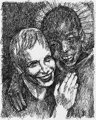 Annie Lennox Drawing - Annie And Boy by KM Paintings