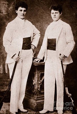 Gunslinger Photograph - Annie Oakley And Her Sister by American School