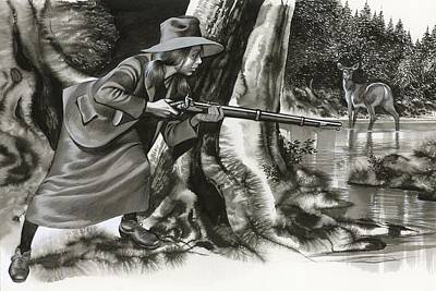 Cowboy Hat Drawing - Annie Oakley Shooting A Buck by Ron Embleton