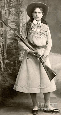 Old West Photograph - Annie Oakley With A Rifle by Richard Kyle Fox