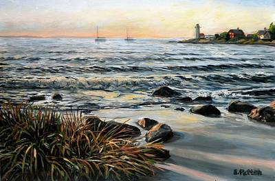 Painting - Annisquam Beach And Lighthouse by Eileen Patten Oliver