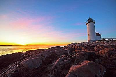 Photograph - Annisquam Lighthhouse Gloucester Ma Vibrant Sunset by Toby McGuire