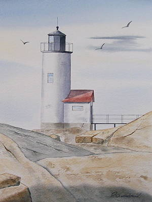 Painting - Annisquam Lighthouse 2 by Richard Schoessow