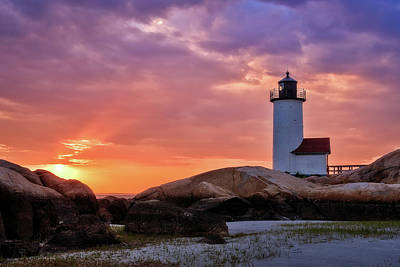Photograph -  Annisquam Lighthouse Sunset Gloucester Ma by Michael Hubley