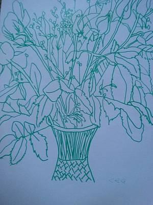 Anniversary Flowers In Green Art Print