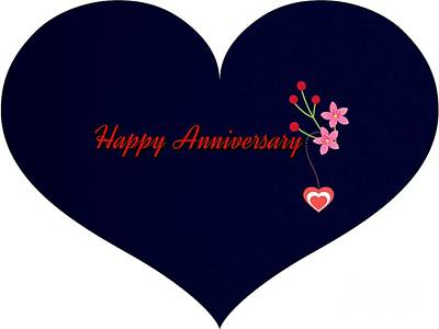 Digital Art - Anniversary Heart by Joan-Violet Stretch
