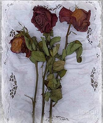 Art Print featuring the digital art Anniversary Roses by Alexis Rotella