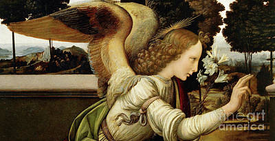Painting - Announcing Angel, Detail From Annunciation by Leonardo da Vinci