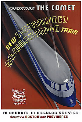 Brakeman Photograph - Announcing The Streamlined Air-conditioned Comet Train 1935 by Daniel Hagerman
