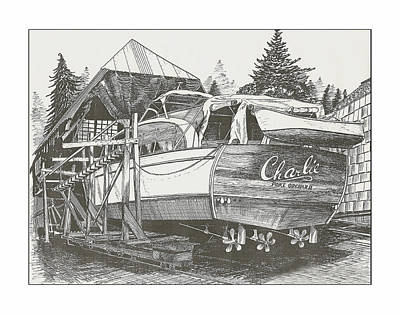 Yachting And Cruising Drawing - Annual Haul Out Chris Craft Yacht by Jack Pumphrey