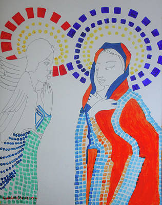 Painting -  Annunciation To Mary by Gloria Ssali