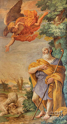 Annunciation To The Shepherds Fresco By Carlo Grimaldi  Art Print by Jozef Sedmak