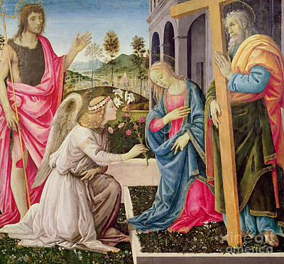 Crucifix Art Painting - Annunciation With Saint Joseph And Saint John The Baptist by Filippino Lippi