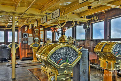 Photograph - Annunciators Quarterdeck Bridge Wheelhouse by David Zanzinger