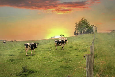 Barns Digital Art - Annville Cows by Lori Deiter