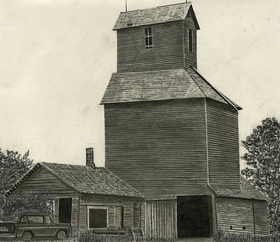Old Barn Drawing Drawing - Anoka Elevator by Bryan Baumeister