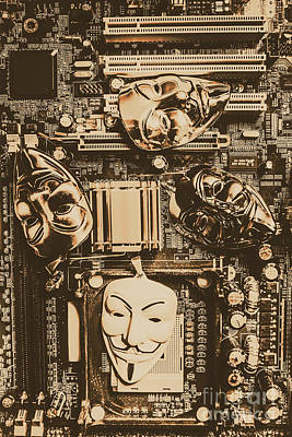 Circuit Photograph - Anonymous Cyber Masks by Jorgo Photography - Wall Art Gallery