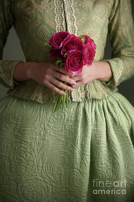 Photograph - Anonymous Historical Woman Holding A Posy Of Flowers by Lee Avison
