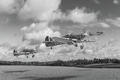 Photograph - Another Day Hurricanes Scramble Bw Version Cropped  by Gary Eason