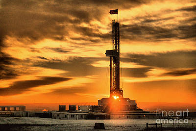 Birds Rights Managed Images - Another day of drilling for American oil Royalty-Free Image by Jeff Swan