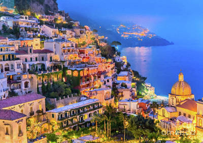 Digital Art - Another Glowing Evening In Positano by Rosario Piazza