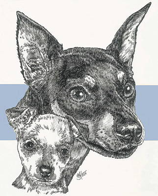 Mixed Media - Another Miniature Pinscher And Pup by Barbara Keith