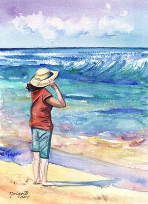 Kauai Girl Painting - Another Nice Day At The Beach by Marionette Taboniar