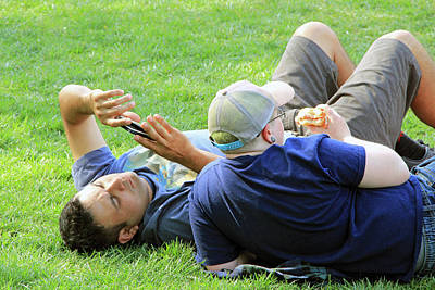 Photograph - Another Shot Of 2 Guys On The Grass by Cora Wandel