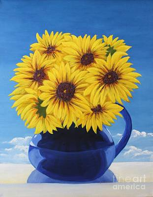 Painting - Another Sunflower In A Blue Bpicher by Mary Erbert