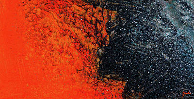 Painting - Another Universe - Orange And Blue Abstract Art by Modern Art Prints