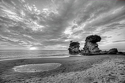 Photograph - Anse Mamin Rock Formation At Sunset Saint Lucia Caribbean Black And White by Toby McGuire