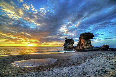 Photograph - Anse Mamin Rock Formation At Sunset Saint Lucia Caribbean by Toby McGuire