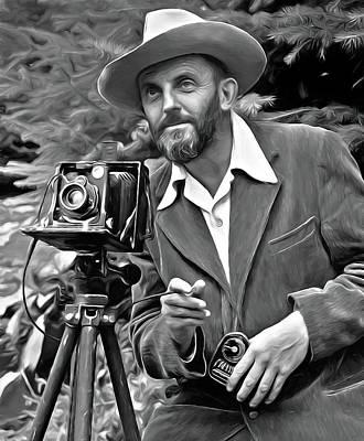 Yosemite National Park Mixed Media - Ansel Adams, Photographer by Mal Bray