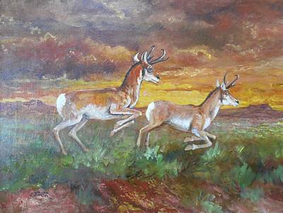 Lynn Burton Wall Art - Painting - Antelope At Sunset by Lynn Burton