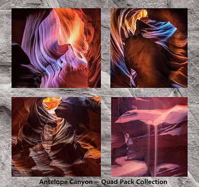 Mixed Media - Antelope Canyon - Quad Pack Collection by Expressive Landscapes Fine Art Photography by Thom
