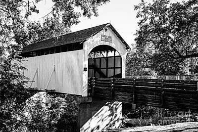 Photograph - Antelope Creek Bridge - Bw by Scott Pellegrin
