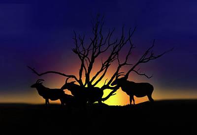 Desert Sunset Digital Art - Antelope Crossing by Gravityx9 Designs