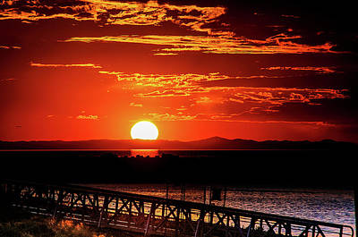 Photograph - Antelope Island Marina Sunset by Bryan Carter