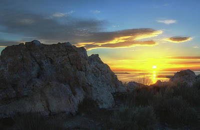 Photograph - Antelope Island Sunset by Art Cole
