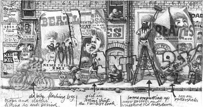 Hamburg Drawing - Anthology Version One by Klaus Voormann