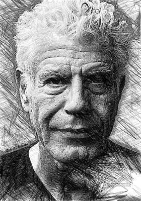 Drawing - Anthony Bourdain - Ink Drawing by Rafael Salazar
