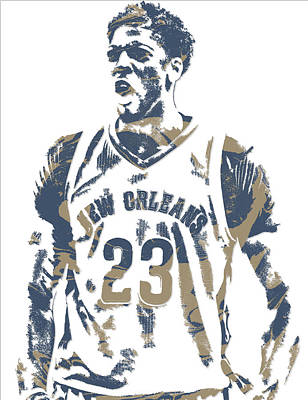 Mixed Media - Anthony Davis New Orleans Pelicans Pixel Art 10 by Joe Hamilton