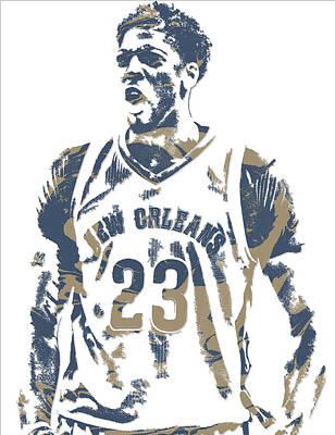 Pelican Mixed Media - Anthony Davis New Orleans Pelicans Pixel Art 10 by Joe Hamilton