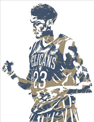 Pelican Mixed Media - Anthony Davis New Orleans Pelicans Pixel Art 12 by Joe Hamilton