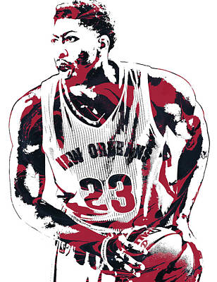 Pelican Mixed Media - Anthony Davis New Orleans Pelicans Pixel Art 2 by Joe Hamilton