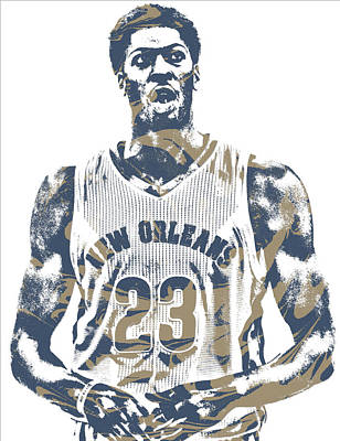 Pelican Mixed Media - Anthony Davis New Orleans Pelicans Pixel Art 20 by Joe Hamilton